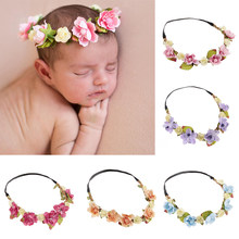 Baby Headband Flower Baby Hair Accessories for Newborn Turban Girl Photography Props Milestone Blanket Decoration Floral Wreath(China)