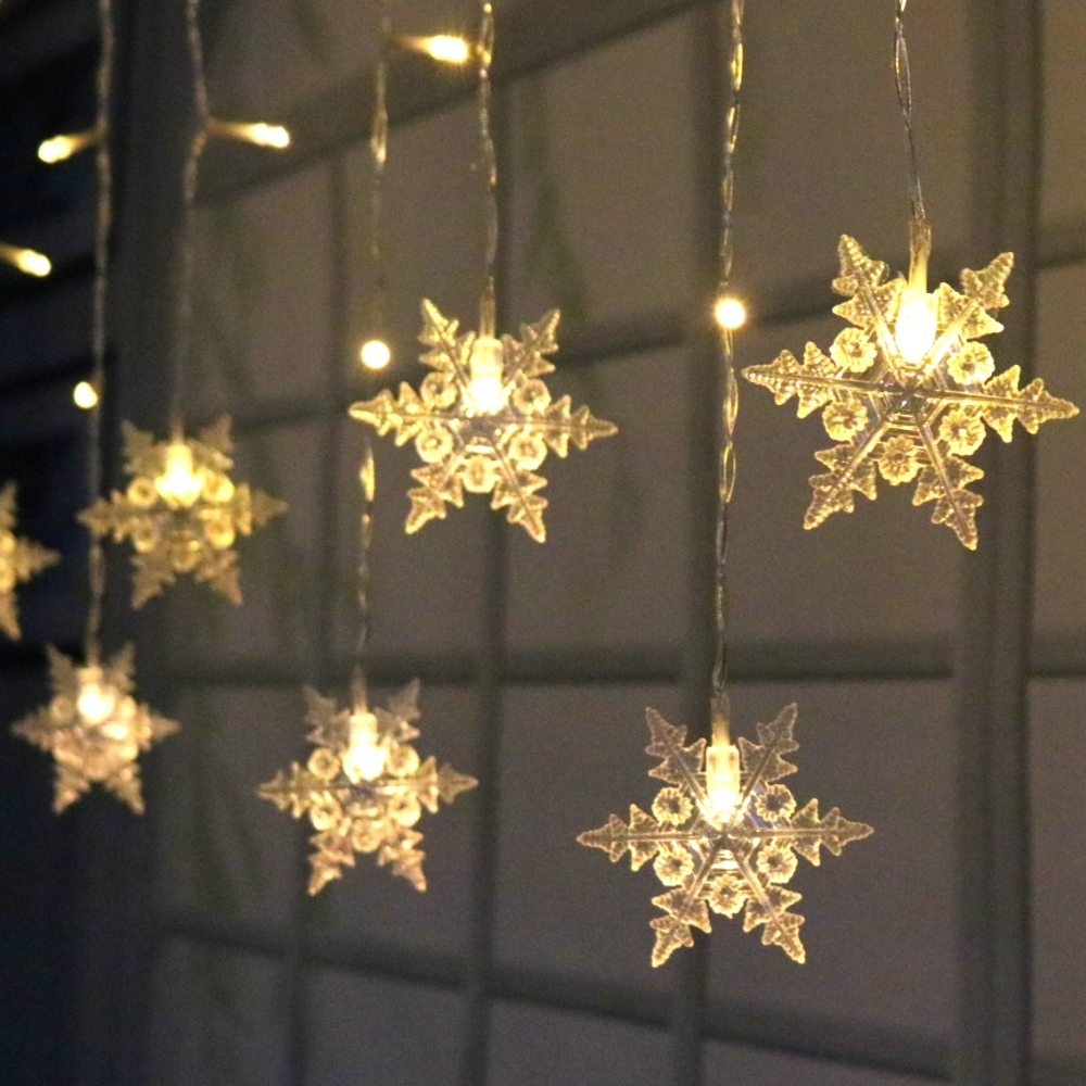 Snowflake Fairy String Lights Curtain Icicle Starry Lighting Chains Battery Operated Hanging Holiday Decorative Christmas Party