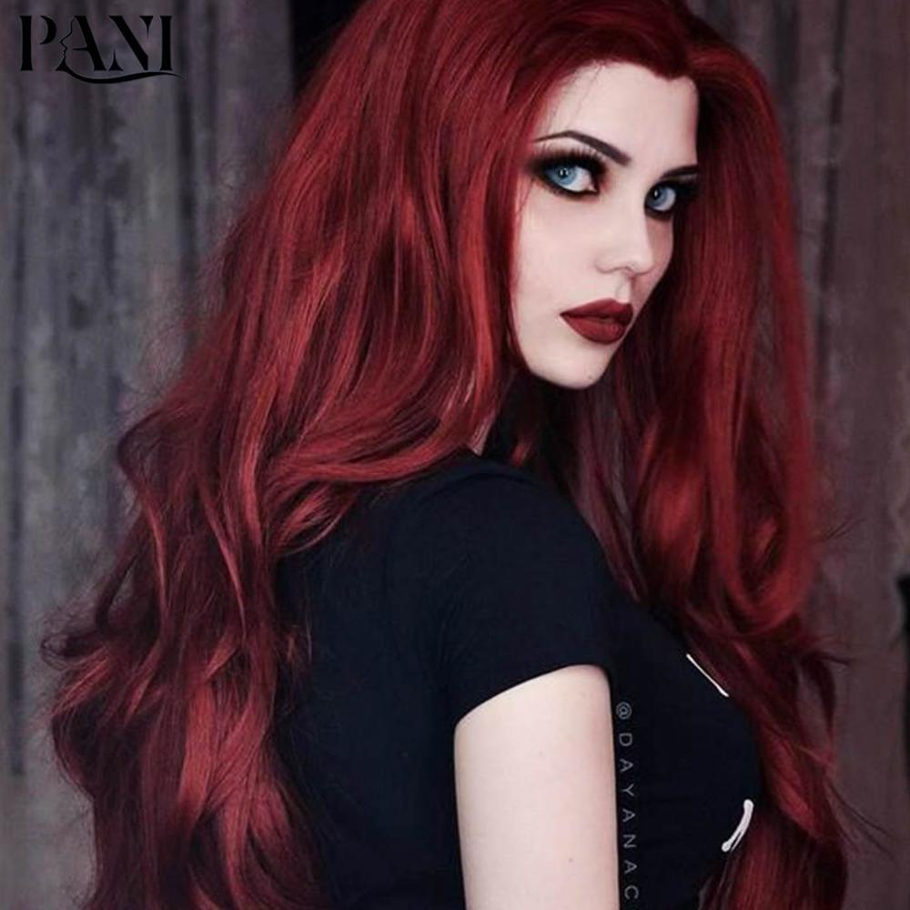 PANI yapay saç koyu kırmızı peruk toplu saç uzun derin dalga peruk sentetik peruk kadın Lolita peruk Cosplay peruk saç uzatma