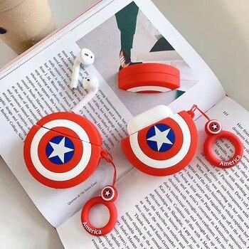 Hessy 3D lindo Marvel capitán americano héroe Batman silicona funda con cordón para los Airpods 2 auriculares Bluetooth accesorios cubierta de la bolsa