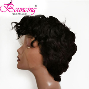 Image 2 - Bouncing Remy Hair 13*4 Lace Front Human Hair Wigs Pre plucked Natural Color 150% Pixie Short Cut Wig For Women Brazilian Hair