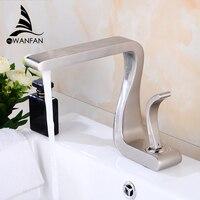 Basin Faucet Bathroom Sink Faucet Brushed Nickel Taps Mixer Single Handle Hole Deck Wash Hot Cold Mixer Tap Crane 855812