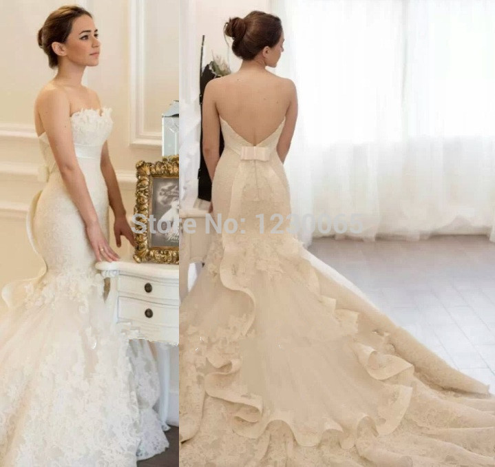 Free Shipping Hot Sale Lace Mermaid Custom Size 2018 Ivory Open Back Designer Lace Appliques Bridal Gown Bridesmaid Dresses