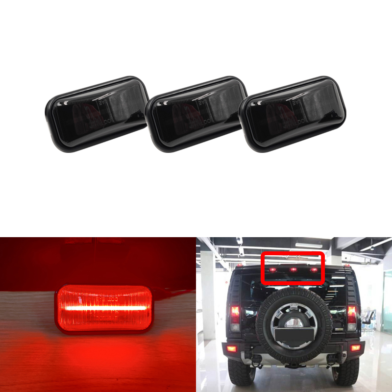 Smoke/Clear Rear Red Center Led Cab Roof Marker Lights Indicator For Hummer H2 2003-2009 H2 SUT 2005-2009
