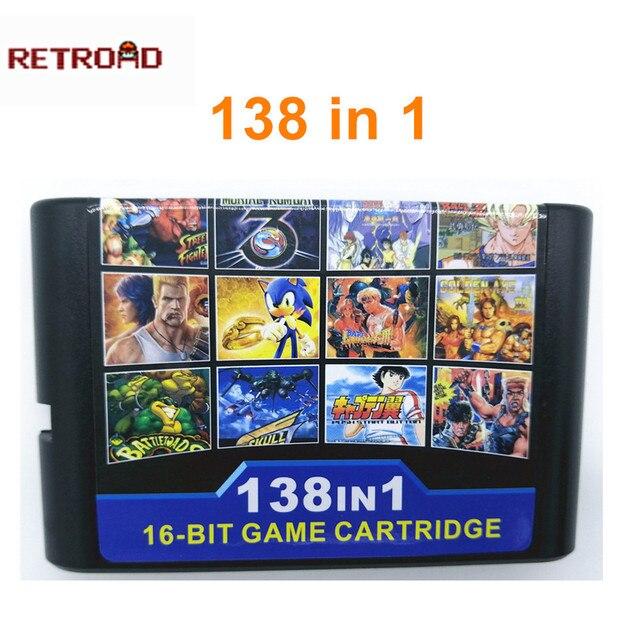 Cartucho de 138 juegos en 1 para Sega Genesis MegaDrive de 16 bits con Street Of Rage 1 2 3 Golden Axe 1 3 Thunder Force