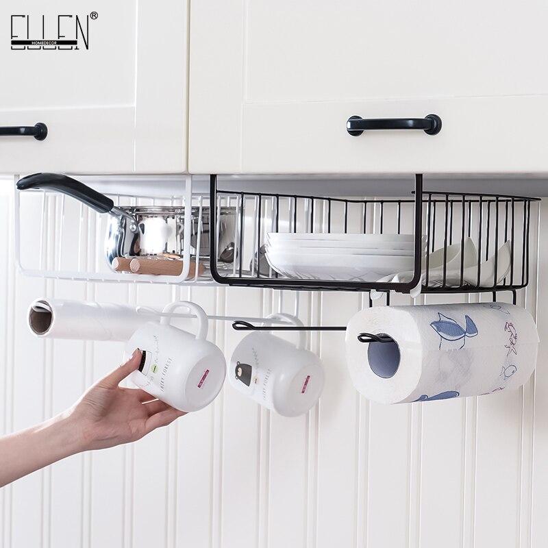 Kitchen Storage Drawer Hanging Rack Under Cabinet Partition Kitchen Paper Holder Wardrobe Storage EL5016