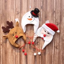 Adult Children Winter Christmas Funny Earflap Cap Cute Cartoon Santa Claus Reindeer Snowman Holiday Cosplay Plush Hat new cute kids hats children christmas soft hat traditional christmas santa claus reindeer party favors decoration baby hat gift