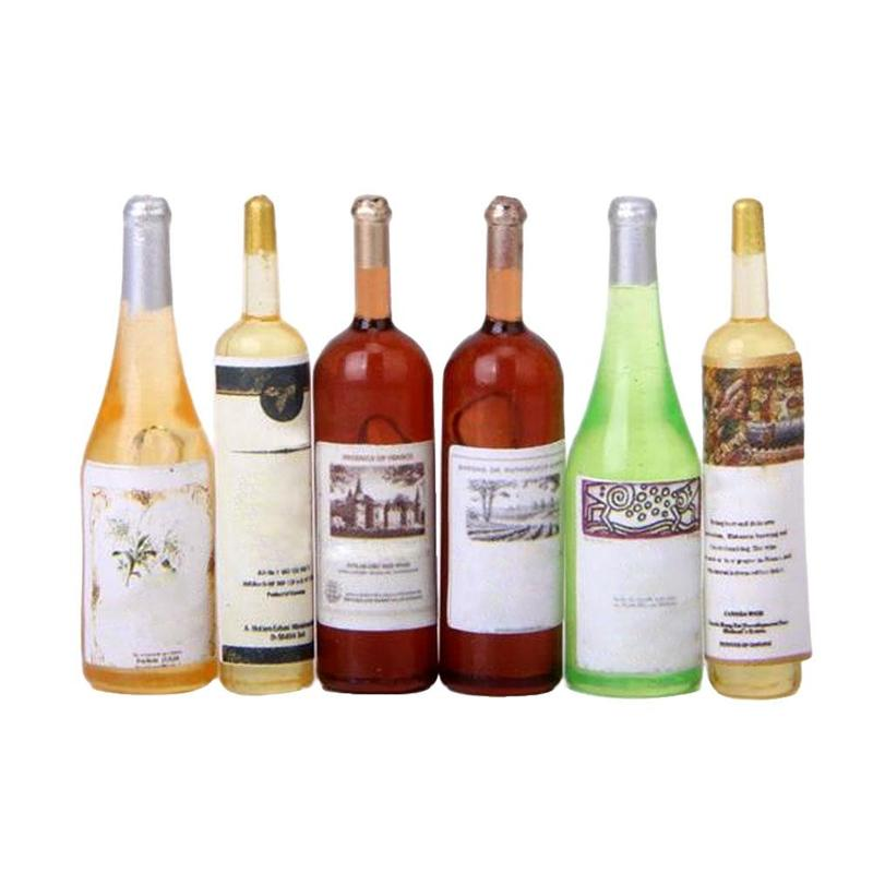 6pcs Mini Simulation Resin Wine Bottle 1/12 Dollhouse Miniature Accessories Decor Furniture Model Toys Children Gifts