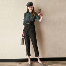 Women's suits commuter temperament girdle waist shirt tops + split feet pants tw