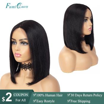 Brazylijski prosto częściowo koronka peruki środkowa część # 1B #613 #1B 613 #1B 30 # 1B 99J #1B 27 peruki z krótkim bobem 8 #8222 -14 #8221 Remy ludzki włos peruki tanie i dobre opinie FumiQueen Proste Remy włosy Średnia wielkość Średni brąz Ciemniejszy kolor tylko Swiss koronki Brazylijski włosy