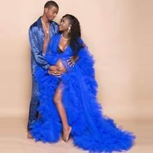 Azul real tule vestidos para grávidas de manga longa das mulheres plus size tule vestidos ver através de tule puro robe de maternidade