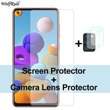 2 ชิ้นฟิล์มกันรอยสำหรับ S amsung g alaxy a21s กระจก A51 M21 A31 A41 A71 M31 m30s A50 A01 C5 กระจกนิรภัยฟิล์มป้องกันโทรศัพท์