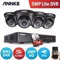 ANNKE 4CH H.265 + 5MP Lite CCTV система DVR 4 шт. 2.0MP ИК ночного видения Купольные Камеры видеонаблюдения 1080P комплект видеонаблюдения