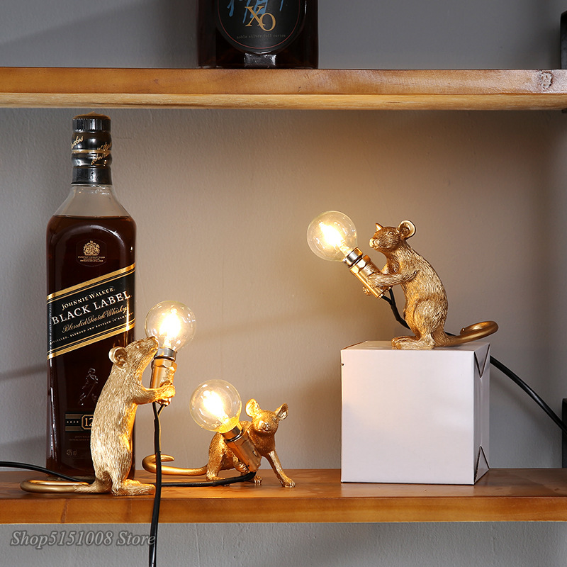 Modern Mini Resin Mouse LED Table Lamps For Living Room Bedroom Nordic Stand Desk Light Luminaire Loft Home Decor Study Fixtures