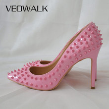 Veowalk Light Pink Women Rivets Pointy Toe High Heels Sexy Ladies Slip On Stilettos Pumps Chic Spikes Heeled Party Shoes