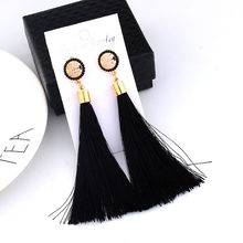 Black Crystal Flower Fringe Earings Earing Geometric Long Dangle Tassel Earrings For Women 2019 Fashion Jewelry Oorbellen Gift(China)
