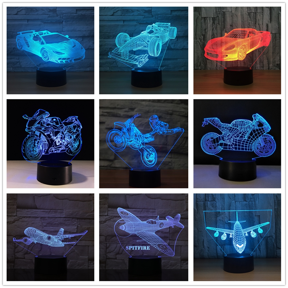 3D Motorcycle Racing Car Formula Ferrari BMW Airplane Aircraft Model Remote Control Touch Swtich 7 Color USB LED Nightlight Lamp