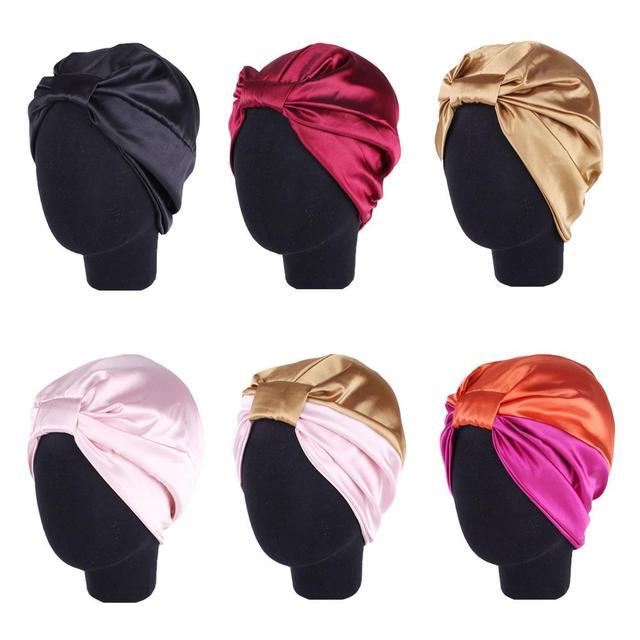 נשים סאטן כובע מצנפת שיער טיפול בארה ליידי טורבן כובע מוסלמי שיער אובדן כובע שינה לילה כובע רך סרטן כימותרפיה כובע Arb בימס