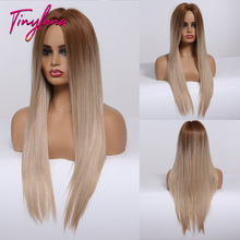 TINY LANA Long Silk Middle Part Straight Hair Gradient Brown to Blonde Synthetic Wigs for Women Daily use&Party Heat Resistant(China)