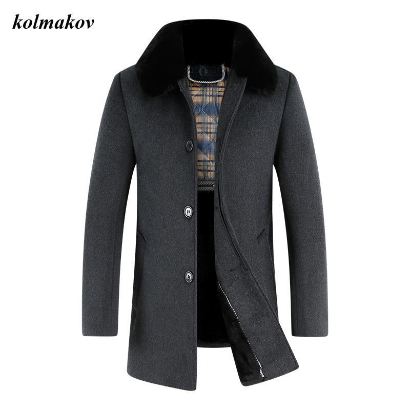 KOLMAKOV New Arrival Spring Style Men Boutique Woolen Coat Business Casual Solid Detachable Wool Collar Trench Woolen Coat