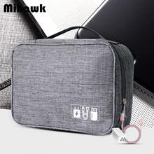 Mihawk Waterproof Digital Bags Travel USB Cable Tote Hard Disk Wires Case Power Bank Mobile Phone Organization Pouch Accessories(China)