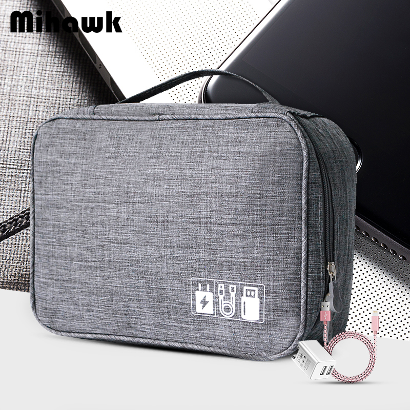 Mihawk Waterproof Digital Bags Travel USB Cable Tote Hard Disk Wires Case Power Bank Mobile Phone Organization Pouch Accessories