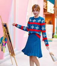 new print 2 two piece set sweater and skirt 2019 autumn winter fashion + two-piece suit