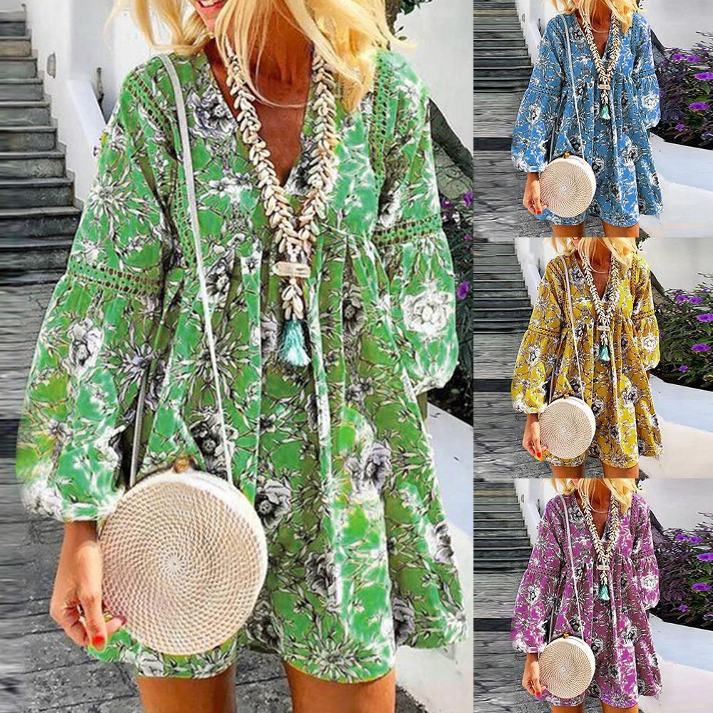 Laamei Summer Women Floral Print Dress Bohemian Lantern Sleeve Short Dress Female Beach Deep V-neck Loose Fashion Mini Dresses