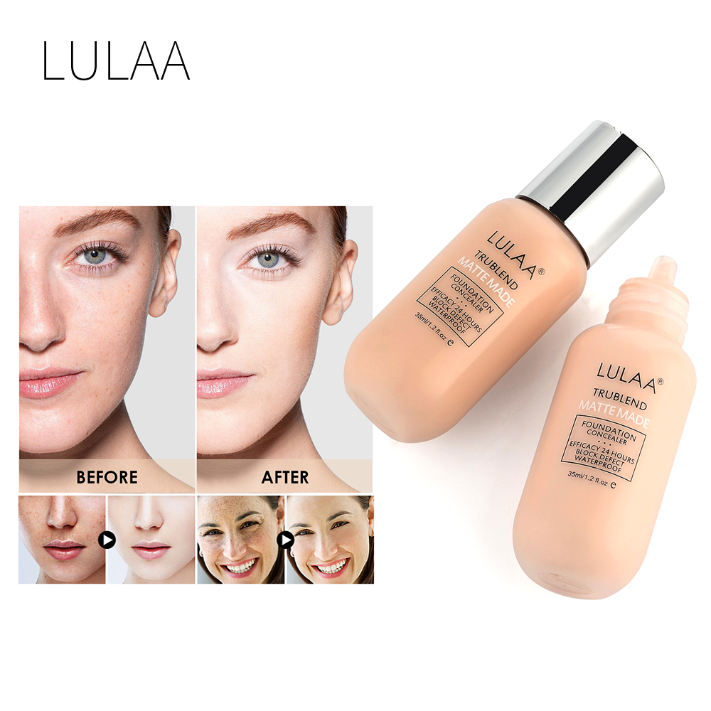 LULAA 35ml Face Liquid Foundation Whitening Concealer Facial Base Cream Oil Control Long Lasting pores makeup foundation TSLM1 image