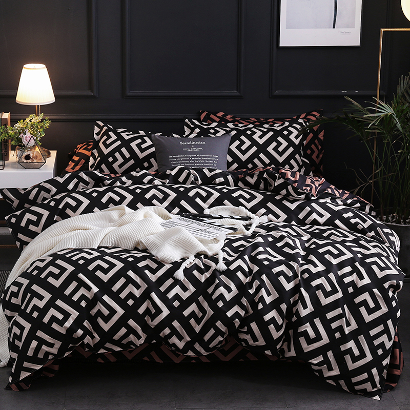 Luxury Black Bedding Set Queen King SIngle Full Size Polyester Bed Linen Duvet Cover Set Modern Bird Plaid Anime With Pillowcase|Bedding Sets| - AliExpress
