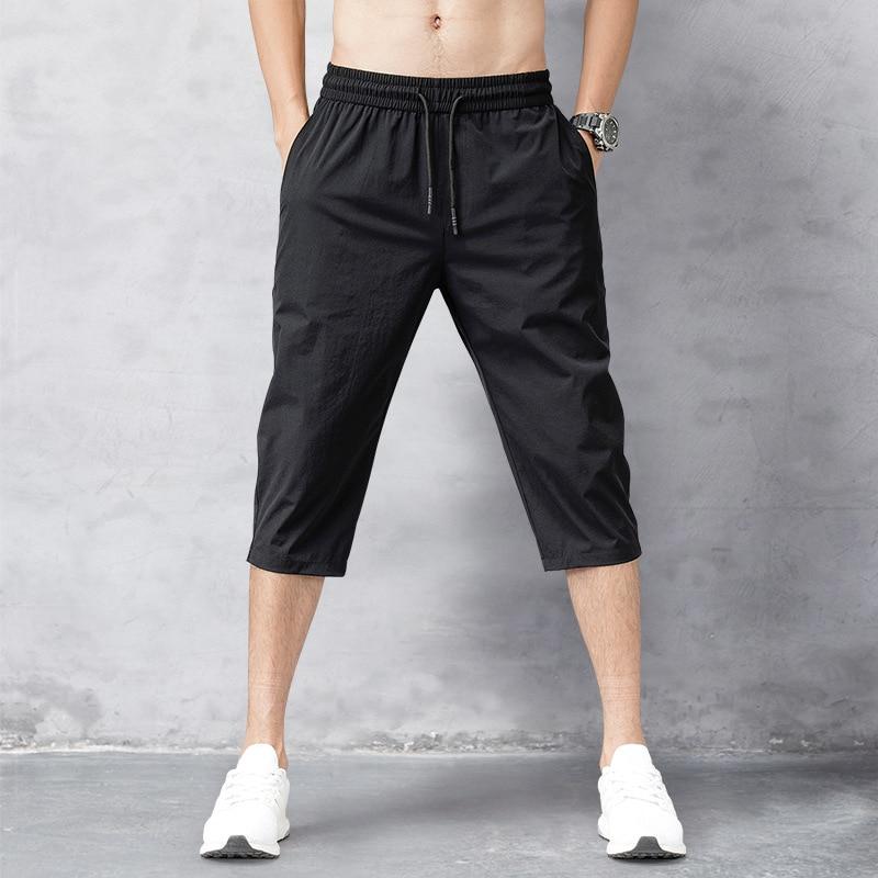 Men's Shorts Summer Breeches 2020 Thin Nylon 3/4 Length Trousers Male Bermuda Board Quick Drying Beach Black Men's Long Shorts 1