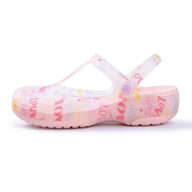 Сандалии женские прозрачные на платформе, босоножки с желе, санитарная обувь для медсестер, клоги, летние Тапочки