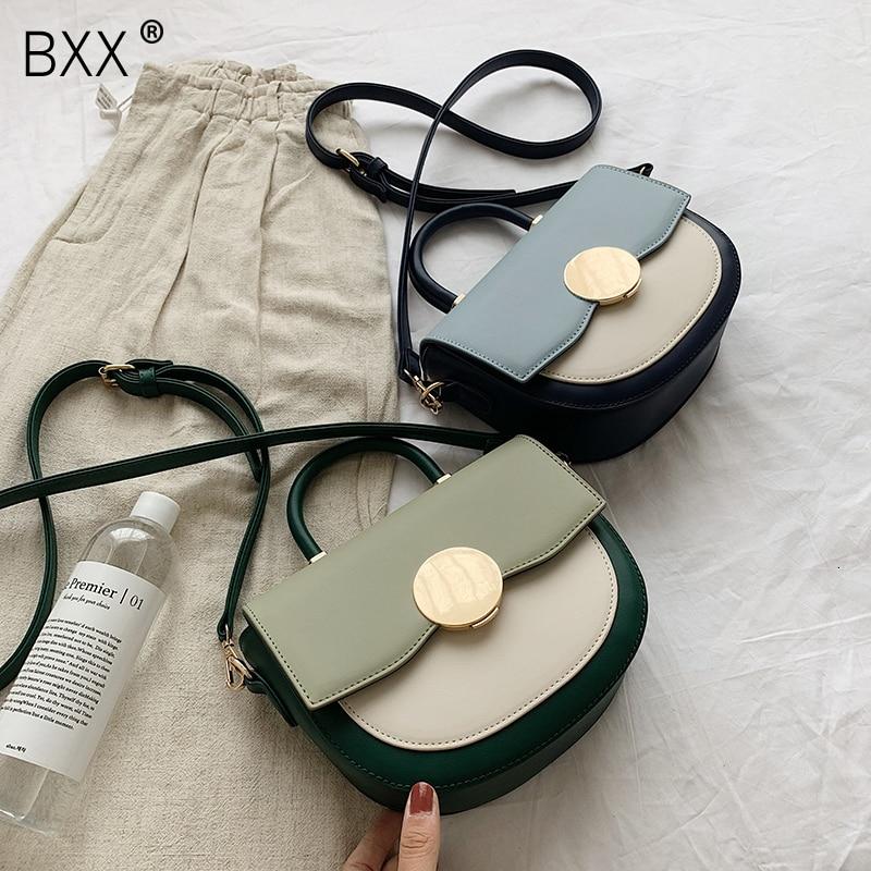 [BXX] Women PU Leather Bag 2020 Brand Designer Saddle Bag Shoulder Portable Messenger Bags Fashion Half Moon Handbag HJ639