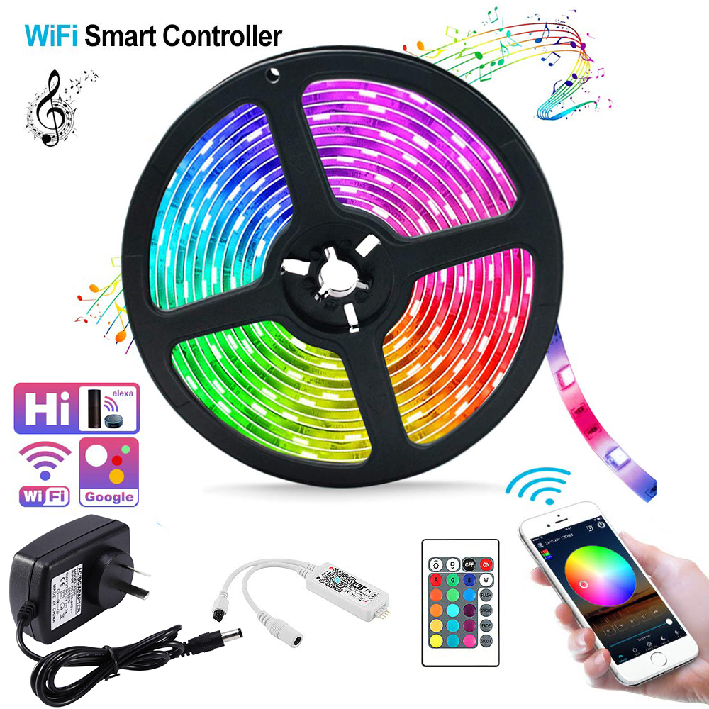 RGB Smart WiFi LED Strip Lights Kit Phone Control Ribbon Diode HDTV / TV / Desktop / Screen Backlight Lamp Light Strips D30