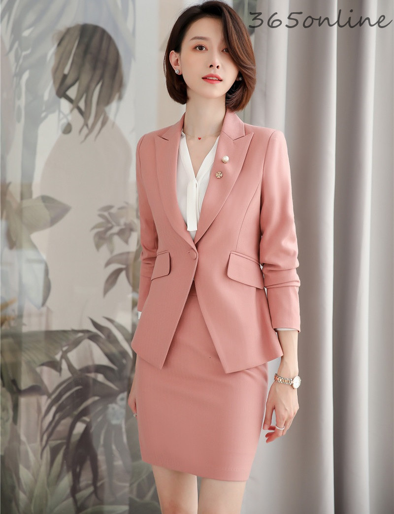 Novelty Pink Ladies Office Work Wear Suits Professional Autumn Winter Women Formal Business Blazers OL Styles Pantsuits