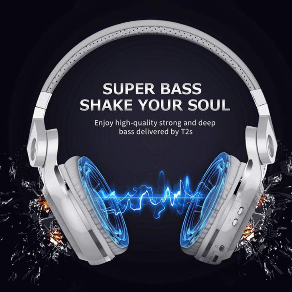 Over Ear Stereo Headphones, Wireless Bluetooth On Ear Headset 3.5mm Jack, for Cell Phone PC Computer - White