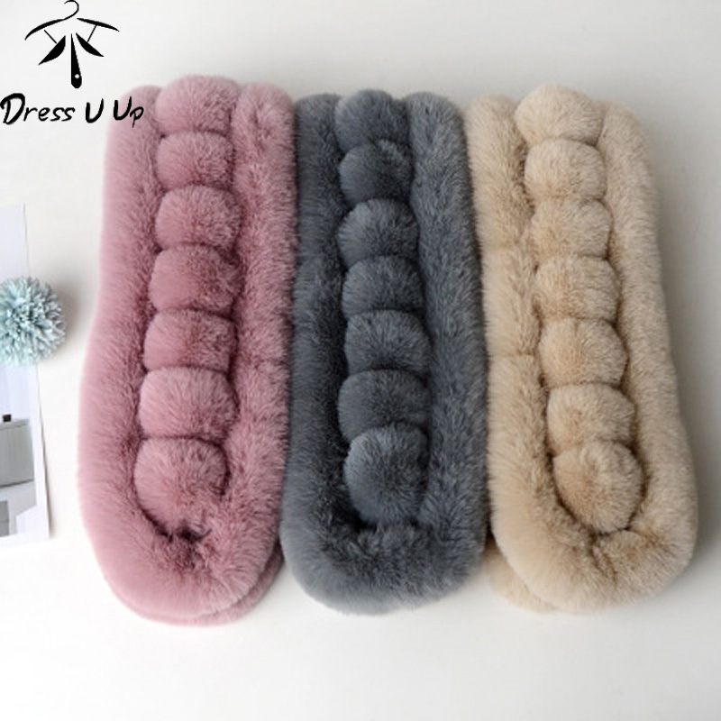 DRESSUUP 2019 Rabbit Fur Scarf For Women Winter Brand Luxury Knitted Female Real Fur Scarf Collar Warm Neck Color Pompoms
