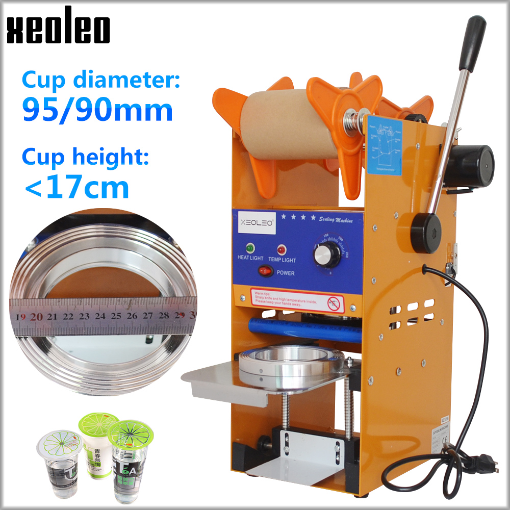 Xeoleo SemiAutomatic Cup sealer Bubble tea machine Cup sealing machine for 9/9.5cm Paper/PE Cup with Temperature adjust US/EU/UK