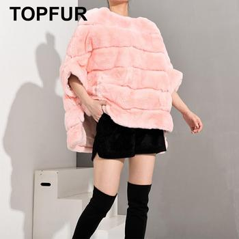 TOPFUR 2019 Pink Coat Women Pullover Rex Rabbit Fur Jacket Women Winter Coat Women Plus Size Real Fur Coat In Real Fur Pullover цена 2017