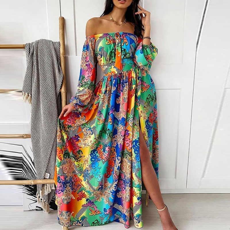 Phụ Nữ Vintage Họa Tiết Áo Dài Thanh Lịch Cổ Tròn Plus Kích Thước Đảng ĐẦM THU ĐÔNG 2020 Đèn Lồng Tay Dài Boho Đầm Vestidos