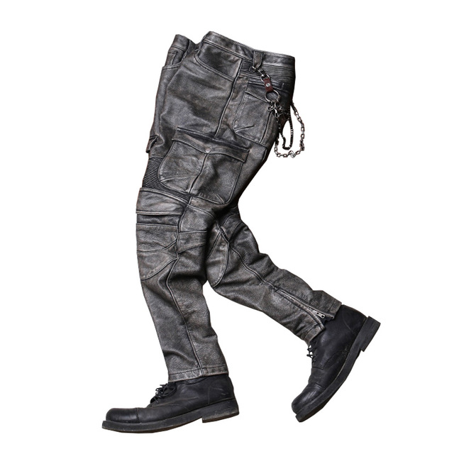 2020 Vintage Grey Men Biker's Leather Trousers Large Size XXXXL Genuine Cowhide Autumn Slim Fit Motorcycle Leather Pants 6