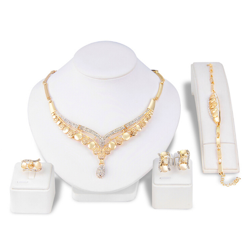 Romantic Color Design Jewelry Sets Necklace African Wedding Jewelry Gold Jewelry Sets