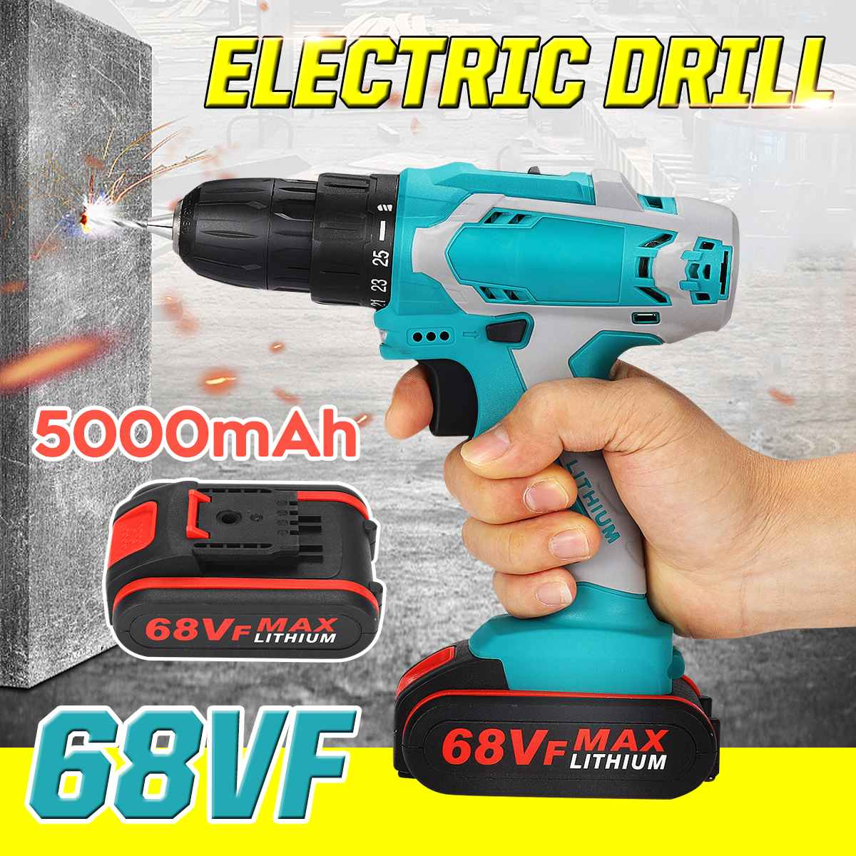 21V 2200r/min Dual Speed Electric Drill 2pcs Screwdriver DC Lithium-Ion Batteries Cordless Drill Power Tool 2-Speed 25+3 N.M