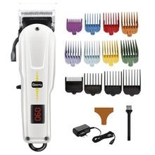 Cordless barber hair clipper professional hair trimmer men adjustable electric hair cutting machine fading blending hair cut