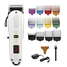 Máquina de cortar cabelo barbeiro sem fio aparador de cabelo profissional homens ajustável máquina de corte de cabelo elétrico desvanecimento mistura corte de cabelo