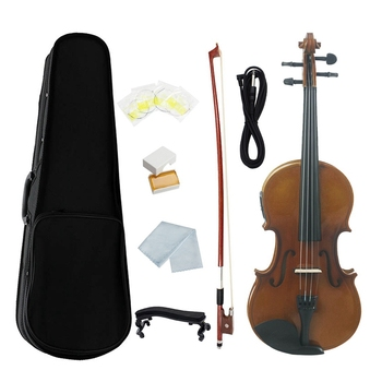 AV-E03 4/4 Full Size Electro-Acoustic EQ Violin Fiddle Kit Solid Matte Finish Spruce Face Board 4-String with Case Rosin Cable,R