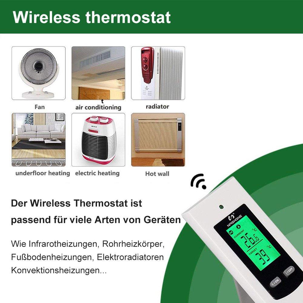 Nashone Thermostat Digital Temperatur Control Wireless Thermostat 220V LCD Display Temperature Controller socket with thermostat 2