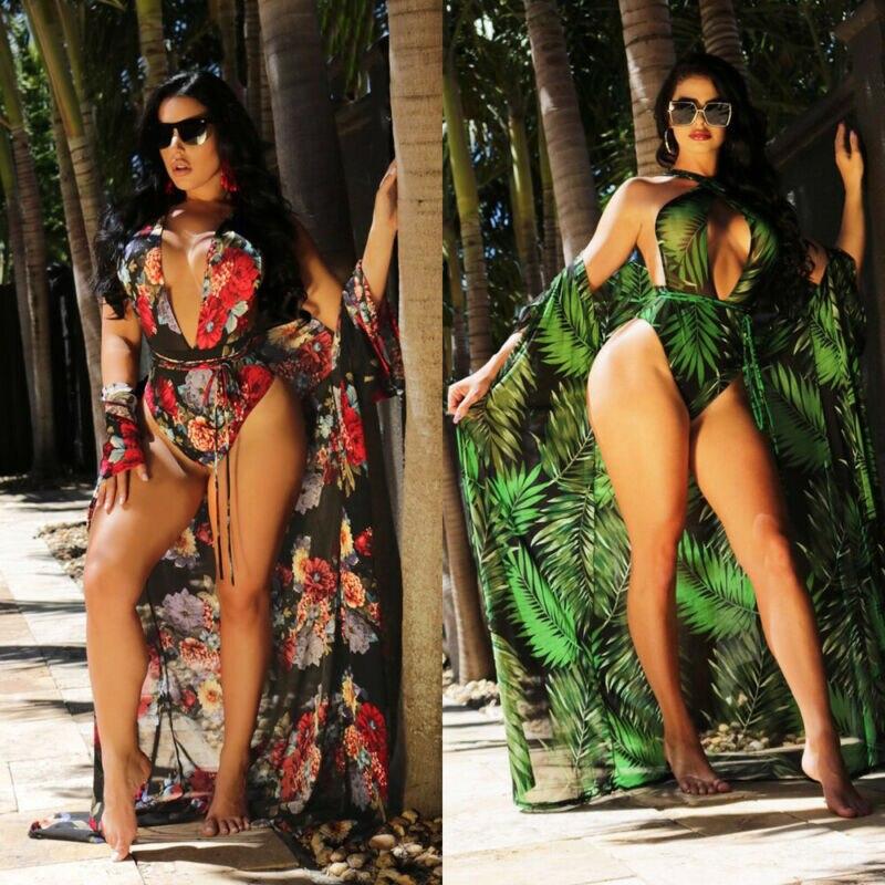 2pc Women Floral Bikini Beachwear Cover Up Beach Dress Summer Bathing Suit Tops Robe Pull Femme