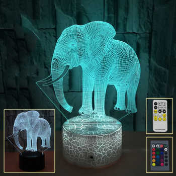 3D Elephant Night Lamp for Kids Bedroom 3W Lamps Toys Gift For Child Bedside Led Night Light Living Room Accessories