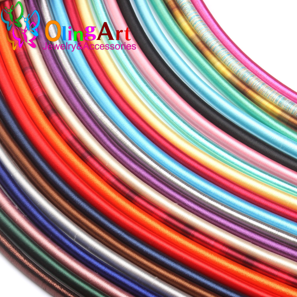 Free Shipping 8mm 46cm Soft Rayon Silk Colorful Cord Hollow Rubber DIY Necklace Bracelet Jewelry Making Findings Olingart